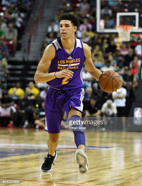 Lonzo Ball of the Los Angeles Lakers brings the ball up the court against the Cleveland Cavaliers during the 2017 Summer League at the Thomas Mack...