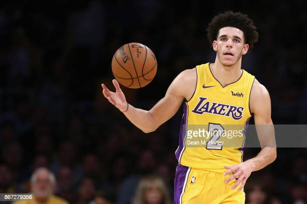 Lonzo Ball of the Los Angeles Lakers dribbles upcourt during the second half of a game against the Toronto Raptors at Staples Center on October 27...