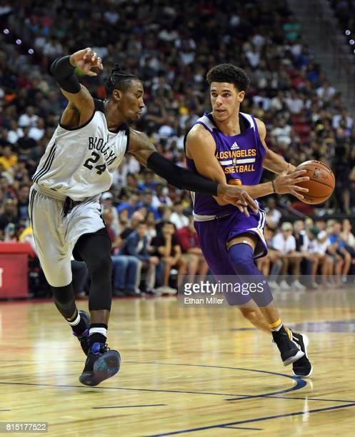 Lonzo Ball of the Los Angeles Lakers drives against Rondae HollisJefferson of the Brooklyn Nets during the 2017 Summer League at the Thomas Mack...