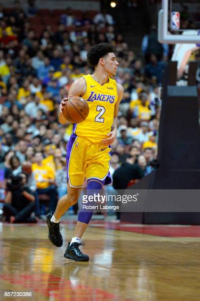 Lonzo Ball of the Los Angeles Lakers during the game against the Minnesota Timberwolves on September 30 2017 at the Honda Center in Anaheim...