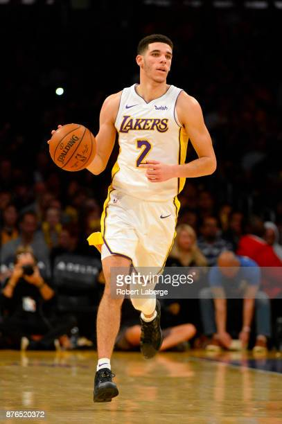 Lonzo Ball of the Los Angeles Lakers during the game against the Denver Nuggets on November 19 2017 at STAPLES Center in Los Angeles California NOTE...