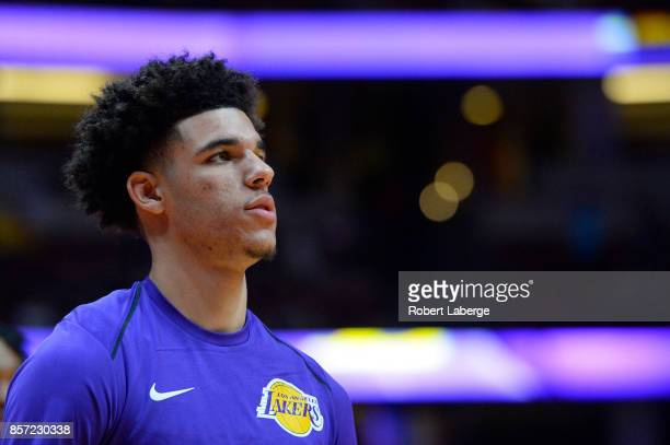 Lonzo Ball of the Los Angeles Lakers during warm up before the game against the Minnesota Timberwolves on September 30 2017 at the Honda Center in...
