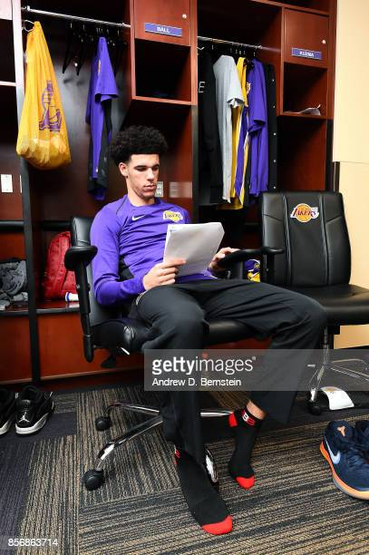 Lonzo Ball of the Los Angeles Lakers gets ready before the game against the Denver Nuggets during a preseason game on October 2 2017 at STAPLES...