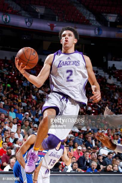 Lonzo Ball of the Los Angeles Lakers goes for a lay up during the game against the Philadelphia 76ers during the 2017 Las Vegas Summer League on July...