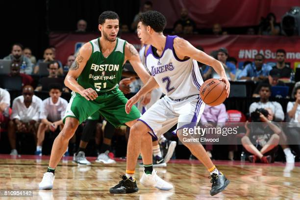Lonzo Ball of the Los Angeles Lakers handles the ball against Abdel Nader of the Boston Celtics during the 2017 Las Vegas Summer League on July 8...