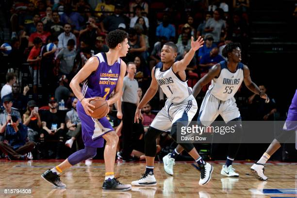 Lonzo Ball of the Los Angeles Lakers handles the ball against Dennis Smith Jr #1 of the Dallas Mavericks during the Semifinals of the 2017 Las Vegas...