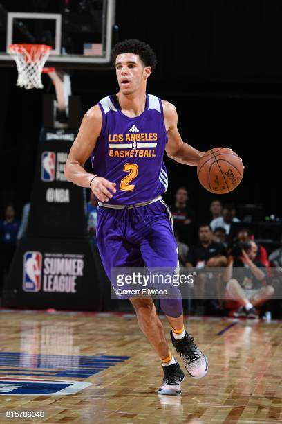 Lonzo Ball of the Los Angeles Lakers handles the ball against the Dallas Mavericks during the 2017 Summer League Semifinals on July 16 2017 at the...