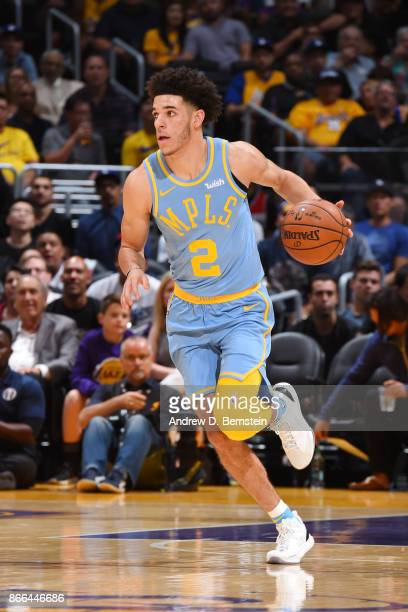 Lonzo Ball of the Los Angeles Lakers handles the ball against the Washington Wizards on October 25 2017 at STAPLES Center in Los Angeles California...