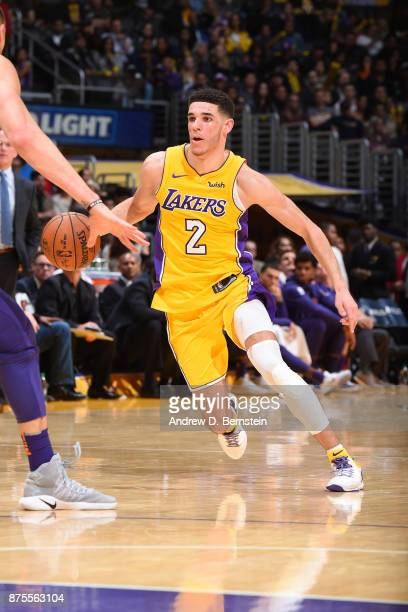 Lonzo Ball of the Los Angeles Lakers handles the ball against the Phoenix Suns on November 17 2017 at STAPLES Center in Los Angeles California NOTE...
