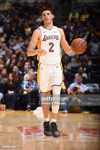 Lonzo Ball of the Los Angeles Lakers handles the ball against the Denver Nuggets on November 19 2017 at STAPLES Center in Los Angeles California NOTE...