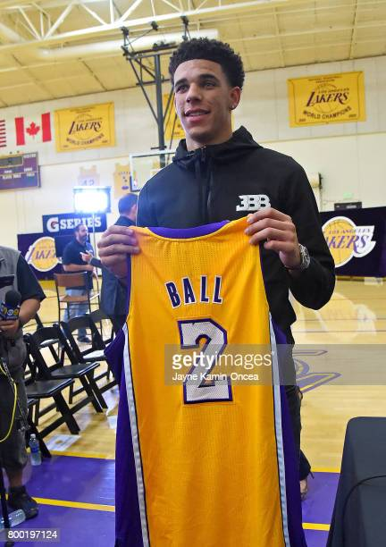 Lonzo Ball of the Los Angeles Lakers holds his jersey during a press conference on June 23 2017 at the team training faculity in Los Angeles...