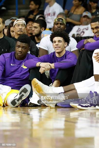 Lonzo Ball of the Los Angeles Lakers is seen during a preseason game against the Denver Nuggets at Citizens Business Bank Arena on October 4 2017 in...