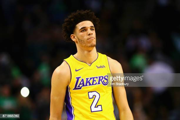 Lonzo Ball of the Los Angeles Lakers looks on during the first quarter against the Boston Celtics at TD Garden on November 8 2017 in Boston...