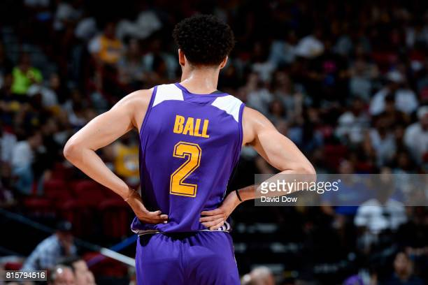 Lonzo Ball of the Los Angeles Lakers looks on during the game against the Dallas Mavericks during the Semifinals of the 2017 Las Vegas Summer League...