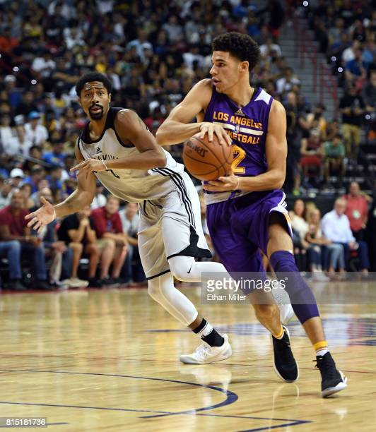 Lonzo Ball of the Los Angeles Lakers passes the ball in front of Spencer Dinwiddie of the Brooklyn Nets during the 2017 Summer League at the Thomas...
