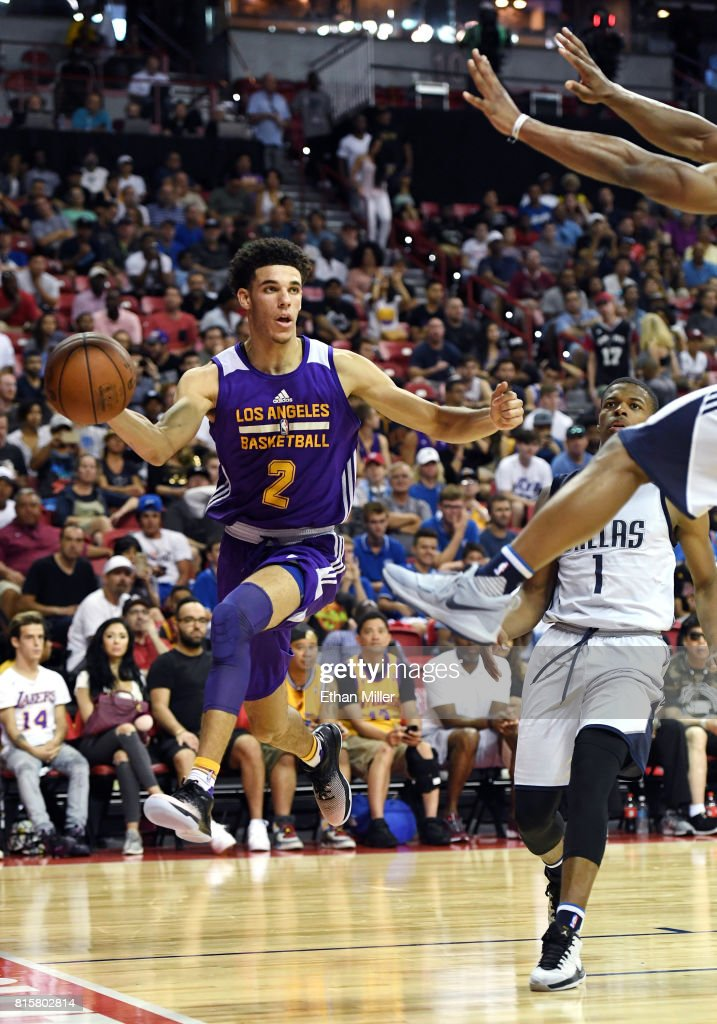 Lonzo Ball #2 of the Los Angeles Lakers passes the ball under the basket against the Dallas Mavericks during a semifinal game of the 2017 Summer League at the Thomas & Mack Center on July 16, 2017 in Las Vegas, Nevada. Los Angeles won 108-98.