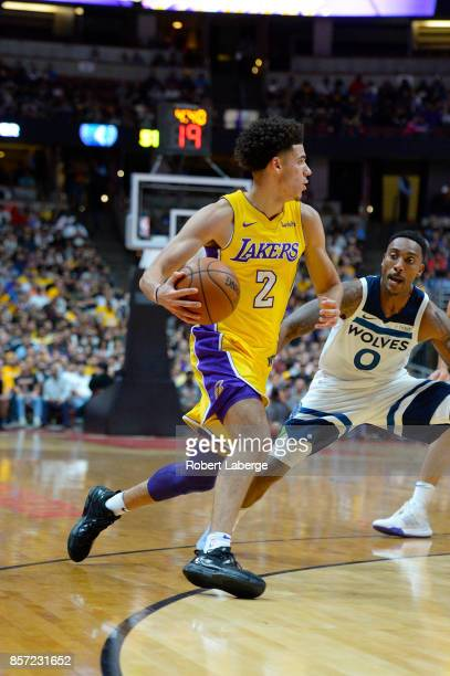 Lonzo Ball of the Los Angeles Lakers plays against Jeff Teague of the Minnesota Timberwolves on September 30 2017 at the Honda Center in Anaheim...