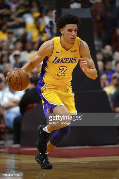 Lonzo Ball of the Los Angeles Lakers plays against the Minnesota Timberwolves on September 30 2017 at the Honda Center in Anaheim California NOTE TO...