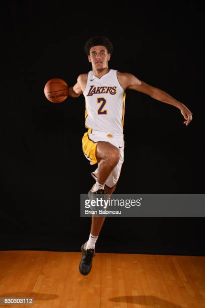 Lonzo Ball of the Los Angeles Lakers poses for a photo during the 2017 NBA Rookie Photo Shoot at MSG training center on August 11 2017 in Tarrytown...