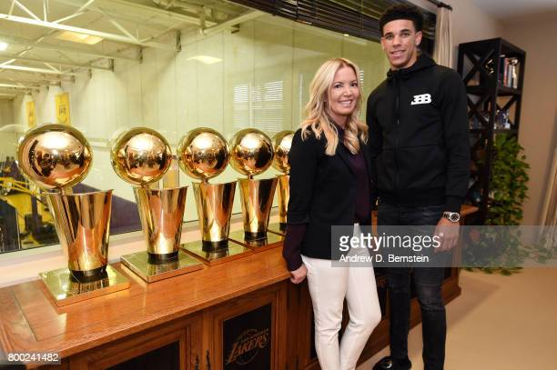 Lonzo Ball of the Los Angeles Lakers poses for a picture with Los Angeles Lakers President Jeanie Buss following a press conference to introduce Los...