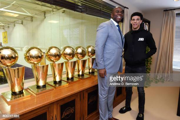 Lonzo Ball of the Los Angeles Lakers poses for a picture with President of Basketball Operation of the Los Angeles Lakers Magic Johnson following a...