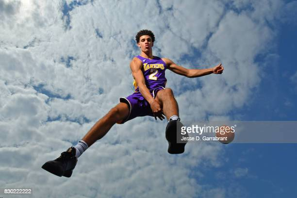 Lonzo Ball of the Los Angeles Lakers poses for a portrait during the 2017 NBA rookie photo shoot on August 11 2017 at the Madison Square Garden...