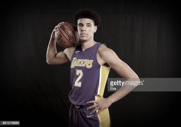 Lonzo Ball of the Los Angeles Lakers poses for a portrait during the 2017 NBA Rookie Photo Shoot at MSG Training Center on August 11 2017 in...