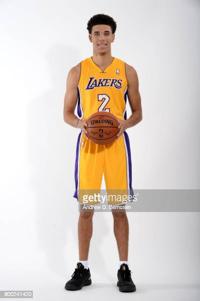 Lonzo Ball of the Los Angeles Lakers poses for a portrait following a press conference to introduce Los Angeles Lakers 2017 NBA Draft picks in El...