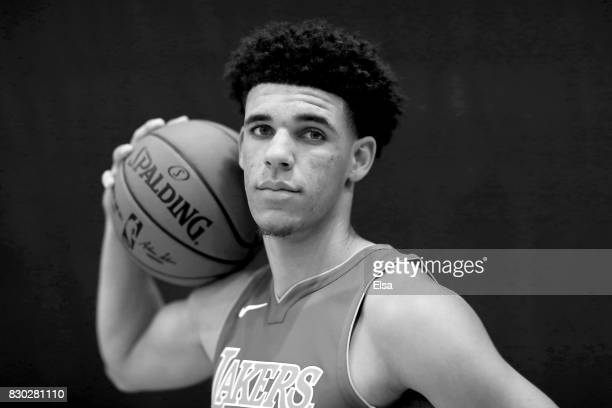 Lonzo Ball of the Los Angeles Lakers poses for a portrati during the 2017 NBA Rookie Photo Shoot at MSG Training Center on August 11 2017 in...