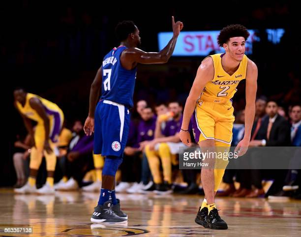 Lonzo Ball of the Los Angeles Lakers reacts after he is fouled by Patrick Beverley of the LA Clippers during the first half of the Los Angeles Lakers...