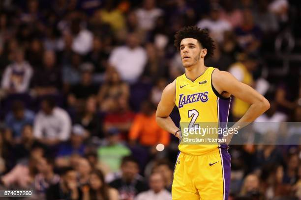 Lonzo Ball of the Los Angeles Lakers reacts during the NBA game against the Phoenix Suns at Talking Stick Resort Arena on November 13 2017 in Phoenix...