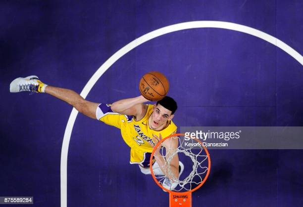 Lonzo Ball of the Los Angeles Lakers scores a basket against Phoenix Suns during the second half of a basketball game at Staples Center November 17...