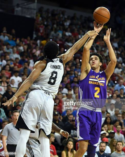 Lonzo Ball of the Los Angeles Lakers shoots against Spencer Dinwiddie of the Brooklyn Nets during the 2017 Summer League at the Thomas Mack Center on...
