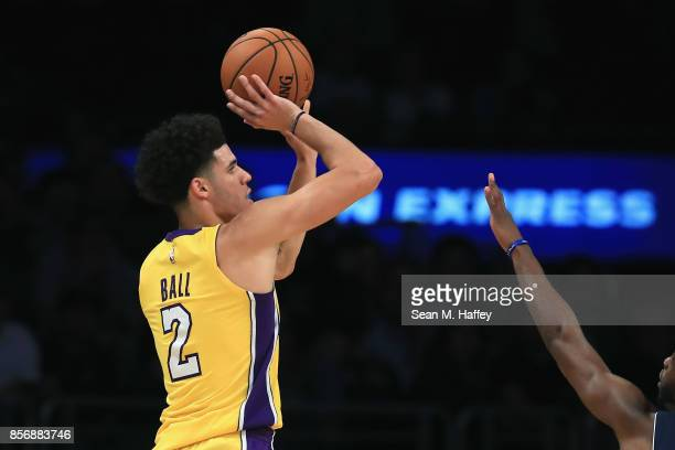 Lonzo Ball of the Los Angeles Lakers shoots the ball during the second half of a preseason game against the Denver Nuggets at Staples Center on...