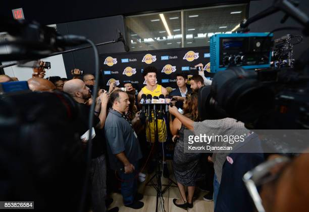 Lonzo Ball of the Los Angeles Lakers speaks during media day September 25 in El Segundo California NOTE TO USER User expressly acknowledges and...