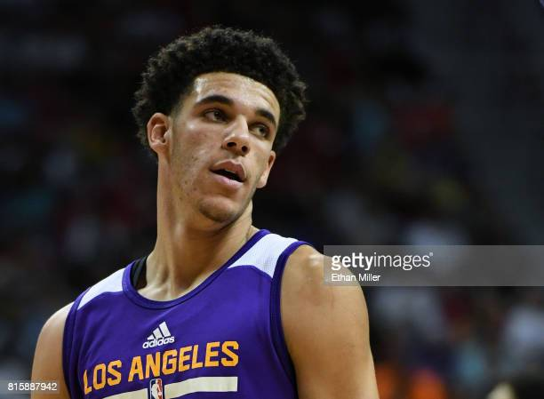 Lonzo Ball of the Los Angeles Lakers stands on the court during a semifinal game of the 2017 Summer League against the Dallas Mavericks at the Thomas...