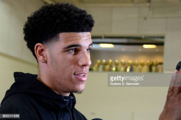 Lonzo Ball of the Los Angeles Lakers talks with the press after being selected as the number 1 pick for the Los Angeles Lakers in El Segundo...
