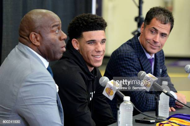 Lonzo Ball of the Los Angeles Lakers talks with the press along with President of Basketball Operations for the Los Angeles Lakers Magic Johnson and...