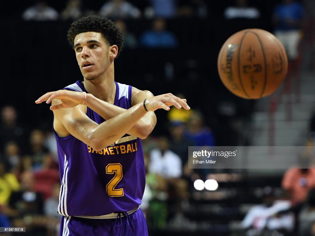 Lonzo Ball #2 of the Los Angeles Lakers throws a no-look pass against the Dallas Mavericks during a semifinal game of the 2017 Summer League at the Thomas & Mack Center on July 16, 2017 in Las Vegas, Nevada. Los Angeles won 108-98.