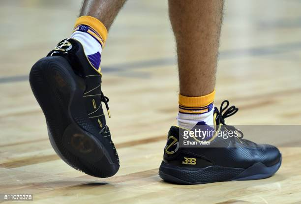 Lonzo Ball of the Los Angeles Lakers wears Big Baller Brand ZO2 sneakers during a 2017 Summer League game against the Boston Celtics at the Thomas...