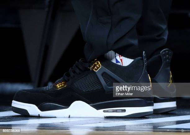Lonzo Ball of the Los Angeles Lakers wears Nike sneakers during a preseason game against the Sacramento Kings at TMobile Arena on October 8 2017 in...