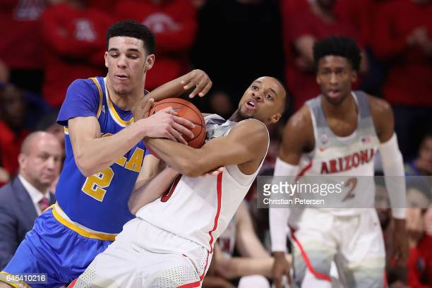 Lonzo Ball of the UCLA Bruins and Parker JacksonCartwright of the Arizona Wildcats battle for possesion during the second half of the college...