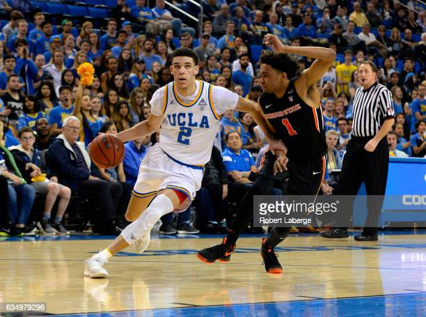 Lonzo Ball of the UCLA Bruins attacks the basket against Stephen Thompson of the Oregon State Beavers at Pauley Pavilion on February 12 2017 in Los...