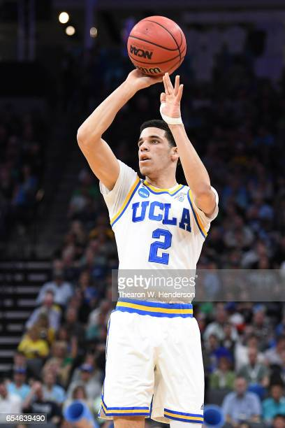 Lonzo Ball of the UCLA Bruins attempts a shot against the Kent State Golden Flashes during the first round of the 2017 NCAA Men's Basketball...