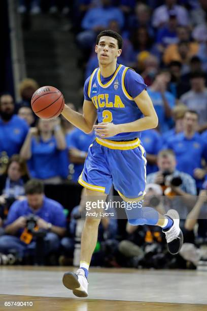 Lonzo Ball of the UCLA Bruins brings the ball up court in the first half against the Kentucky Wildcats during the 2017 NCAA Men's Basketball...
