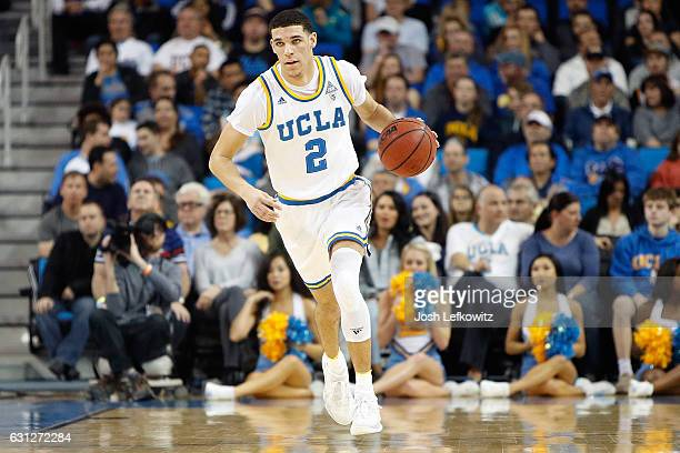 Lonzo Ball of the UCLA Bruins dribbles the ball down court during the game against the Stanford Cardinal at Pauley Pavilion on January 8 2017 in Los...