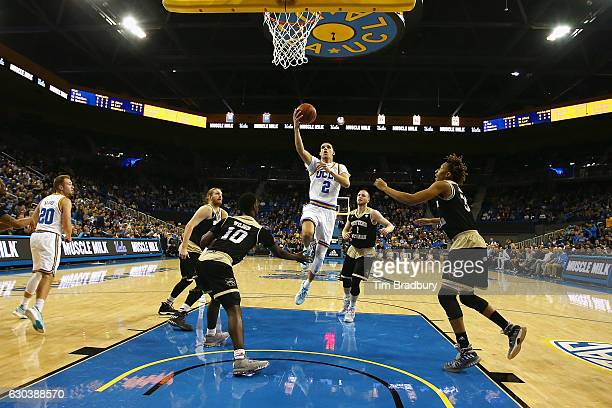 Lonzo Ball of the UCLA Bruins drives to the basket during the first half against the Western Michigan Broncos at Pauley Pavilion on December 21 2016...
