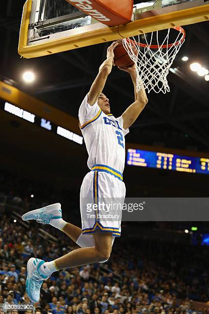 Lonzo Ball of the UCLA Bruins dunks the ball during the second half against the Western Michigan Broncos at Pauley Pavilion on December 21 2016 in...