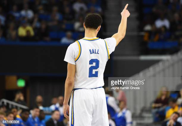 Lonzo Ball of the UCLA Bruins during the game against the Washington Huskies at Pauley Pavilion on March 1 2017 in Los Angeles California Bruins won...