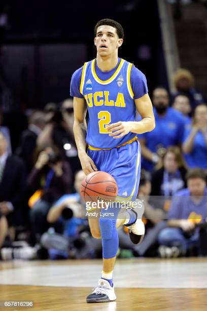 Lonzo Ball of the UCLA Bruins handles the ball in the first half against the Kentucky Wildcats during the 2017 NCAA Men's Basketball Tournament South...